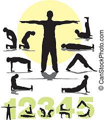 set vector five tibetans silhouettes