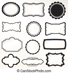 set, vector, frame, ouderwetse , decoratief