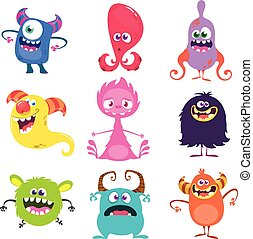 set., vector, gekke , spotprent, monsters, illustratie