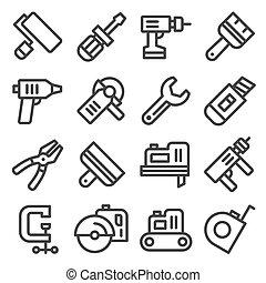 set., vector, gereedschap, iconen