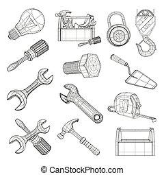 set, vector, gereedschap, tekening