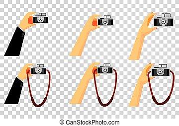 Set Vector Hand, Holding Vintage Camera at Transparent ...