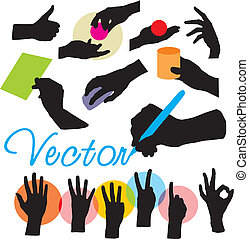 set vector hands silhouettes