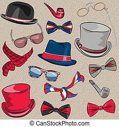 set, vector, hipster, accessoires