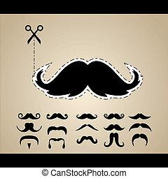 set, vector, hipster, mustache