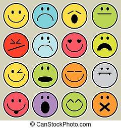 Set Vector Icon Smiley Faces