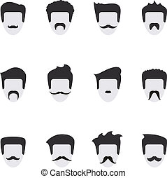 Set vector icons face with mustache