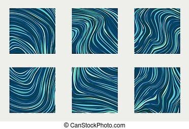 Set vector illustration marble blue texture. Splash of paint. Colorful liquid.