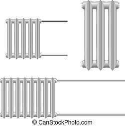 Set Vector illustration of a metal heat radiator on a white background. Home heating element.