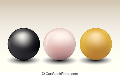 Set vector illustration of pearls different colors