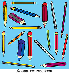 Set vector illustration of pencils