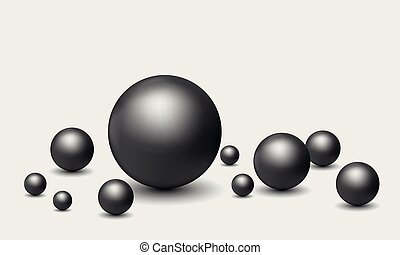 Set vector illustration of realistic black pearls