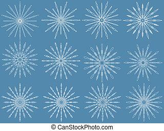 set., vector, illustration., sneeuwvlok