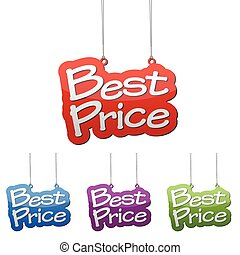 Set vector illustrations isolated tag banner best price in four color variant red, blue, purple and green. This element is wel adapted for web design.