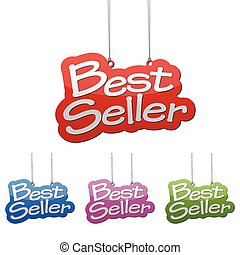 Set vector illustrations isolated tag banner best seller in four color variant red, blue, purple and green. This element is wel adapted for web design.