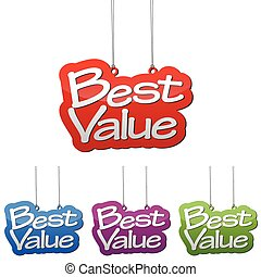 Set vector illustrations isolated tag banner best value in four color variant red, blue, purple and green. This element is wel adapted for web design.