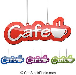 Set vector illustrations isolated tag banner cafe in four color variant red, blue, purple and green. This element is wel adapted for web design.