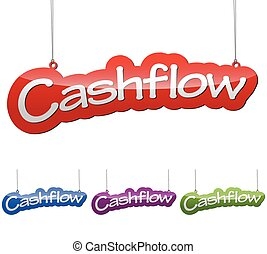 Set vector illustrations isolated tag banner cashflow in four color variant red, blue, purple and green. This element is wel adapted for web design.
