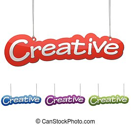 Set vector illustrations isolated tag banner creative in four color variant red, blue, purple and green. This element is wel adapted for web design.