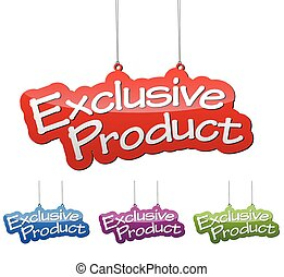 Set vector illustrations isolated tag banner exclusive product in four color variant red, blue, purple and green. This element is wel adapted for web design.