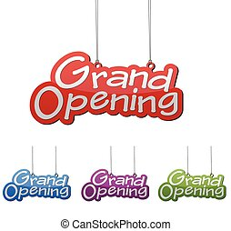 Set vector illustrations isolated tag banner grand opening...