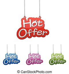 Set vector illustrations isolated tag banner hot offer in four color variant red, blue, purple and green. This element is wel adapted for web design.