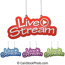 Set vector illustrations isolated tag banner live stream in four color variant red, blue, purple and green. This element is wel adapted for web design.
