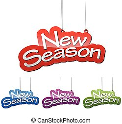 Set vector illustrations isolated tag banner new season in four color variant red, blue, purple and green. This element is wel adapted for web design.