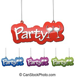 Set vector illustrations isolated tag banner party in four color variant red, blue, purple and green. This element is wel adapted for web design.