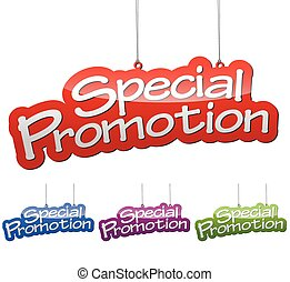 Set vector illustrations isolated tag banner special promotion in four color variant red, blue, purple and green. This element is wel adapted for web design.