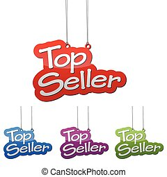 Set vector illustrations isolated tag banner top seller in four color variant red, blue, purple and green. This element is wel adapted for web design.