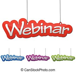 Set vector illustrations isolated tag banner webinar in four color variant red, blue, purple and green. This element is wel adapted for web design.