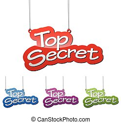 Set vector illustrations isolated tag banner top secret in four color variant red, blue, purple and green. This element is wel adapted for web design.