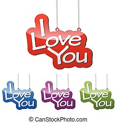 Set vector illustrations isolated tag banner i love you in four color variant red, blue, purple and green. This element is wel adapted for web design.