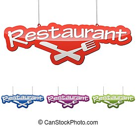 Set vector illustrations isolated tag banner restaurant in four color variant red, blue, purple and green. This element is wel adapted for web design.