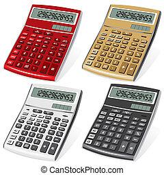 calculator - set vector image colored calculators