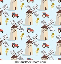 Set vector image pattern windmills and tractors