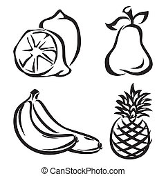 fruit - set vector images of fruit
