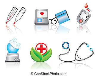 medical devices - set vector images of medical devices and...