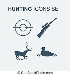set., vector, jacht, illustratie, iconen