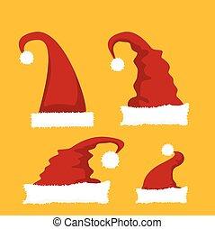 set., vector, kerstmuts, rood, pictogram