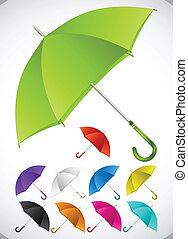 set., vector, kleurrijke, paraplu's