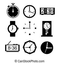 set., vector, klok, iconen