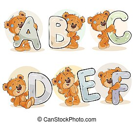 Set vector letters of the English alphabet with funny teddy...