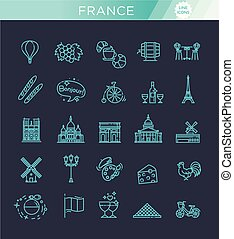Set vector line icons in flat design France - France Icons...