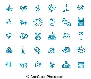 Set vector line icons in flat design France - France Icons ...