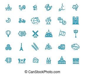 France Icons Set.France Illustration.France Flat Symbols.Paris Design Set. Paris Elements Collection