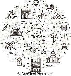 Set vector line icons in flat design France