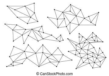 set, vector, lineair, communie, -, driehoekig