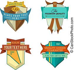 set vector logo retro ribbon badge